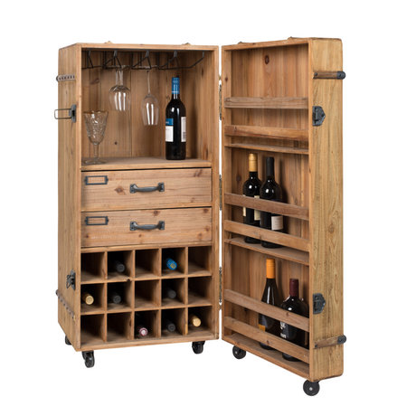 Dutchbone Lico drink cabinet brown wood 50x50x109cm