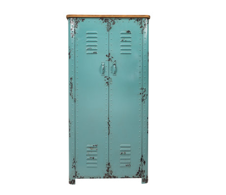 Dutchbone Buffet Rusty antique bleu clair en fer 75x38x153cm