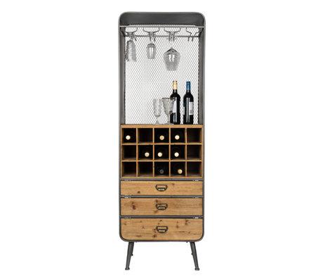 Dutchbone Wijnkast Vino bruin zwart hout metaal 56x38x170cm
