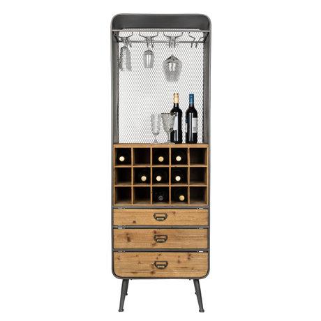 Dutchbone Cave à vin Vino brun noir bois métal 56x38x170cm