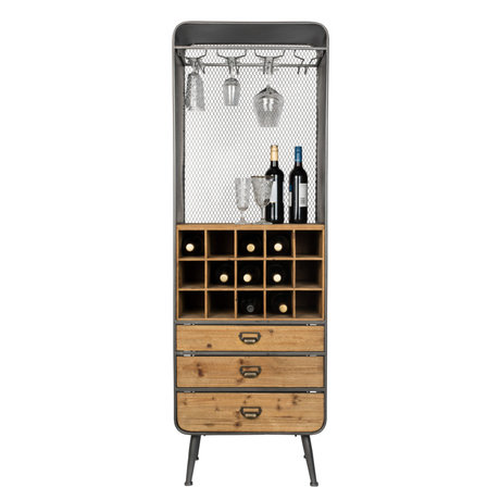 Dutchbone Wine cabinet Vino brown black wood metal 56x38x170cm