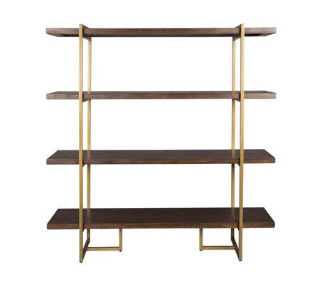 Dutchbone Stellingkast Class bruin goud hout metaal 140x40x146cm