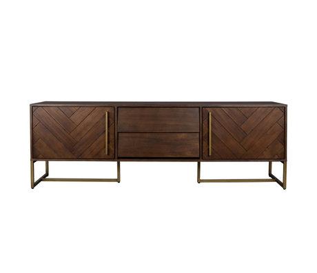 Dutchbone Beistelltisch Klasse Braun Gold Holz Metall 180x45x60cm
