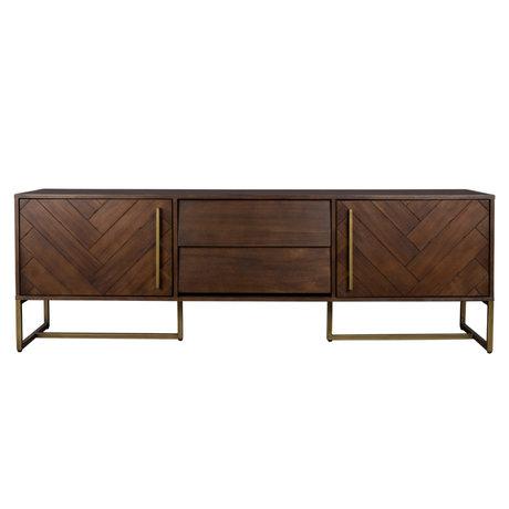 Dutchbone Sidetable Class brown gold wood metal 180x45x60cm