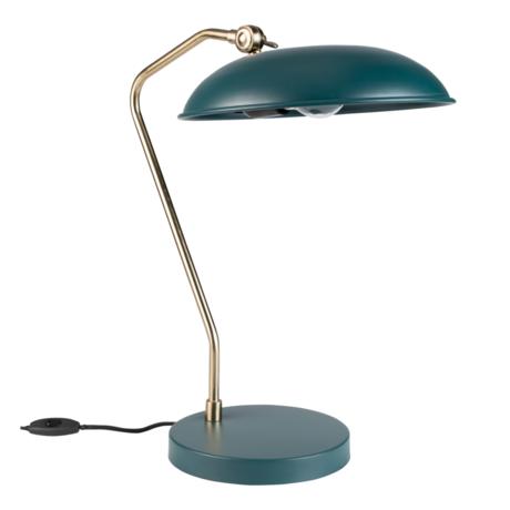 Dutchbone Lampe à poser Liam turquoise bleu métal doré 29x32.5x49.5cm