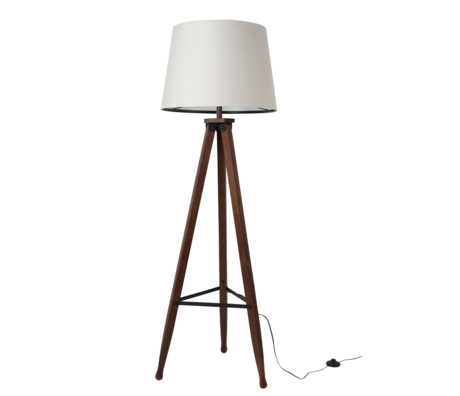 Dutchbone Floor lamp Rif white brown textile wood Ø50x154cm