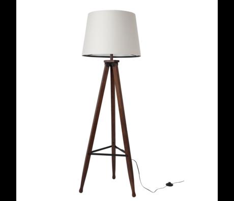 Dutchbone Lampadaire Rif blanc bois textile brun Ø50x154cm