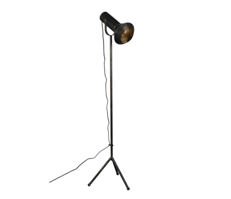 Dutchbone Vloerlamp Vox zwart goud metaal 20x40x158cm