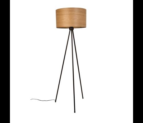 Dutchbone Lampadaire Woodland brun noir bois métal Ø50x150cm