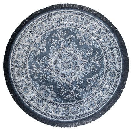 Dutchbone Vloerkleed rond Bodega blauw textiel ø175cm