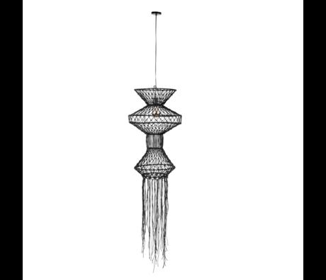 Dutchbone Hanglamp Tangan zwart jute ijzer Ø91x190cm