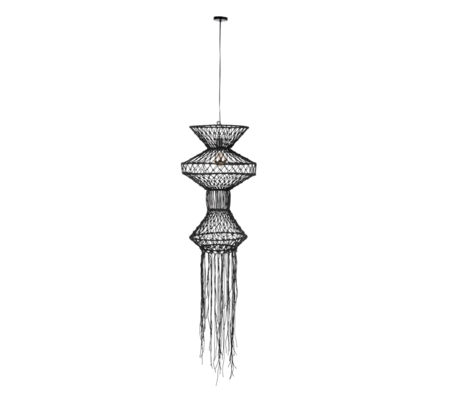 Dutchbone Tangan hanging lamp black jute iron Ø91x190cm
