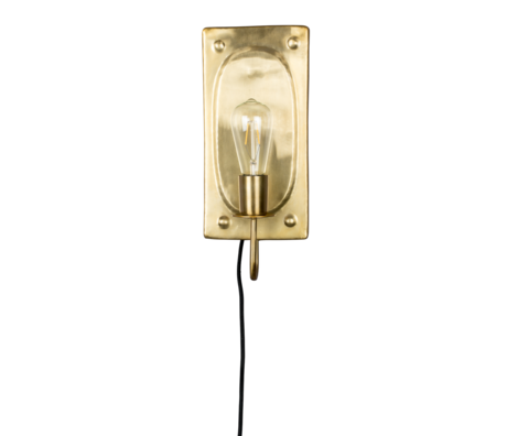 Dutchbone Wandlamp Brody brass goud metaal 16x7,5x38cm