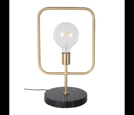DUTCHBONE Tafellamp Cubo brass goud metaal zwart marmer 51cm