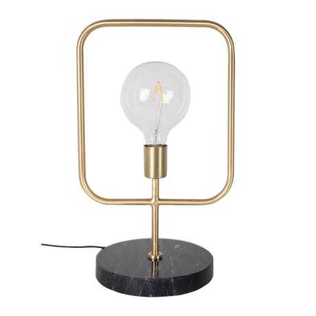 Dutchbone Lampe à poser Cubo laiton laiton doré marbre noir 51 cm