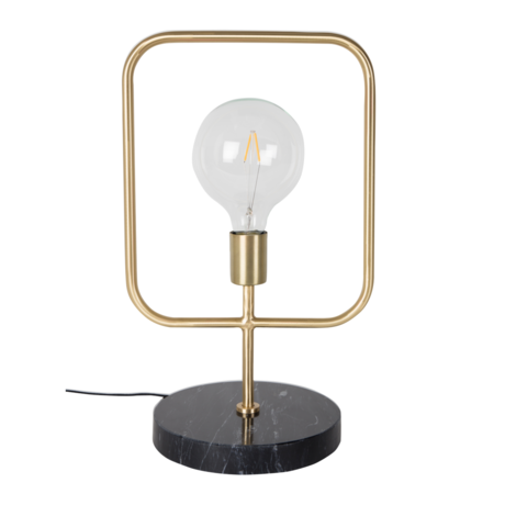 Dutchbone Table lamp Cubo brass gold metal black marble 51 cm