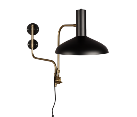 DUTCHBONE Wall lamp Devi black brass gold metal 29x70x49cm