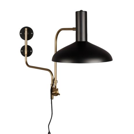 Dutchbone Wandlamp Devi zwart brass goud metaal 29x70x49cm