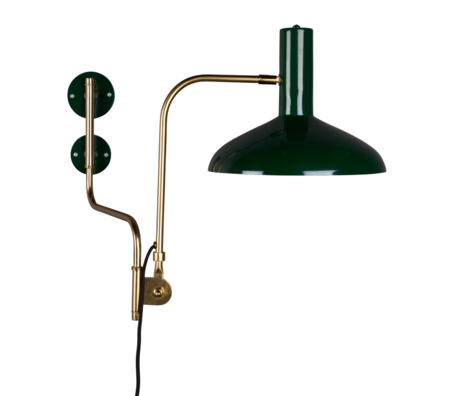 Dutchbone Wandlamp Devi groen brass goud metaal 29x70x49cm