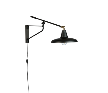 Dutchbone Wall lamp Hector black metal 26x93x30cm