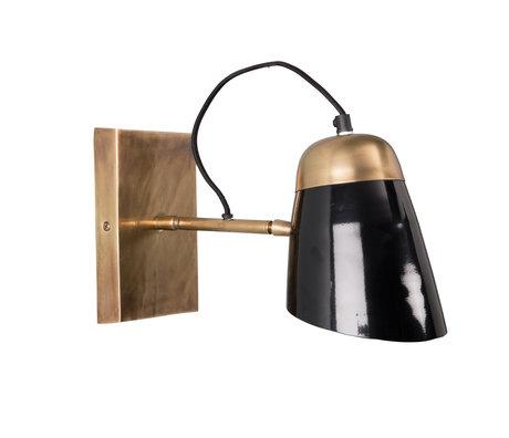 DUTCHBONE Wandlamp Old school zwart brass goud metaal 31x14x18cm