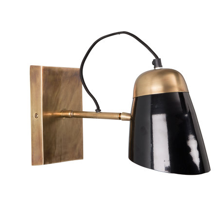 Dutchbone Wandlampe Old School schwarz Messing Gold Metall 31x14x18cm