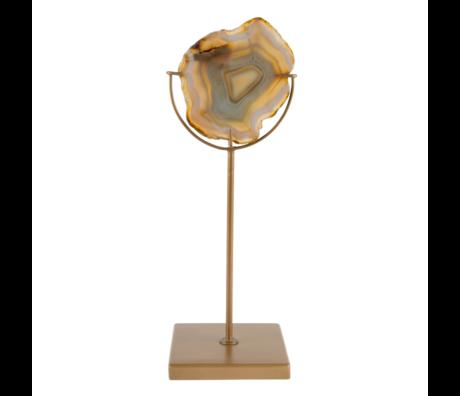 Dutchbone Waxinelichthouder  Gem geel brass goud metaal 10x10x30cm