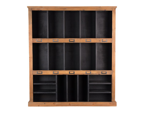 Dutchbone Wand kast Rustic zwart bruin hout 97x20x110cm