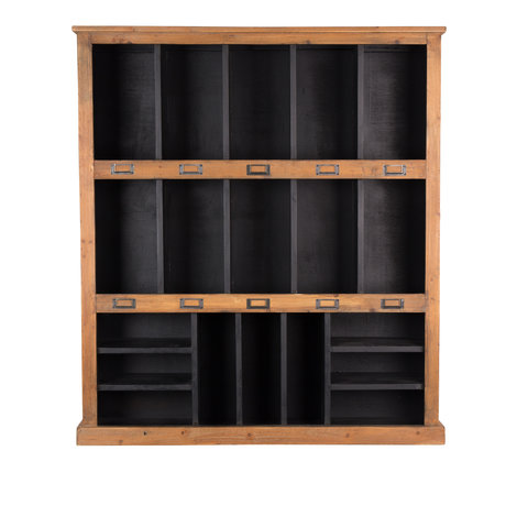 DUTCHBONE Rustikaler Wandschrank aus schwarzbraunem Holz 97x20x110cm