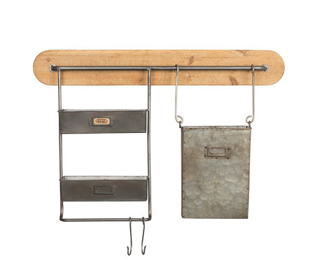 Dutchbone Wall rack Marley wood metal 70x11.5x55.5cm