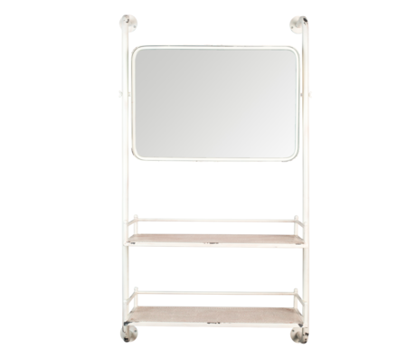 Dutchbone Wall rack with mirror Barber mirror metal 30x70x120cm