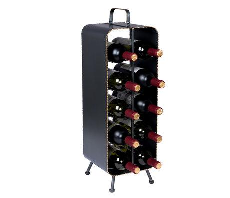Dutchbone Wine rack Stalwart gray gold metal 22x22x68cm
