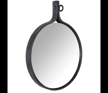 Dutchbone Miroir Attractif '24 métal enduit de poudre ronde 60x72x4cm