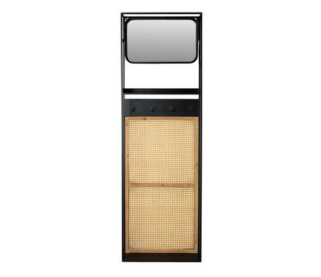 Dutchbone Spiegel met kapstok Langres M rotan mesh en hout 53x15x165cm