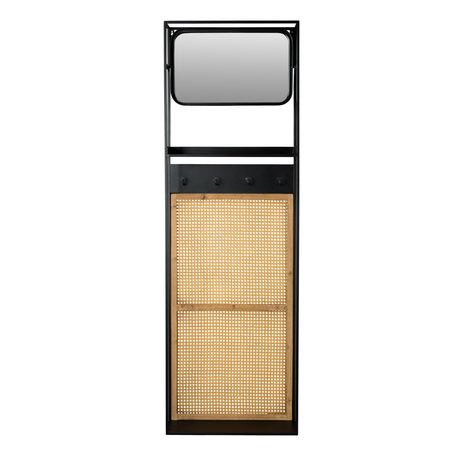 DUTCHBONE Spiegel mit Garderobe Langres M Rattan Mesh und Holz 53x15x165cm