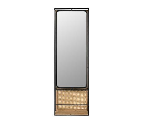Dutchbone Miroir Langres L en rotin maillé et bois 53x15x165cm