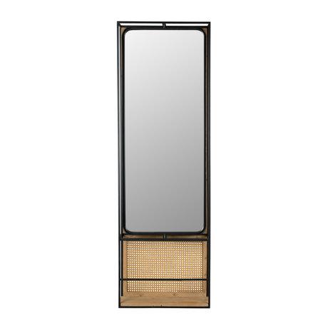 DUTCHBONE Spiegel Langres L Rattan Mesh und Holz 53x15x165cm