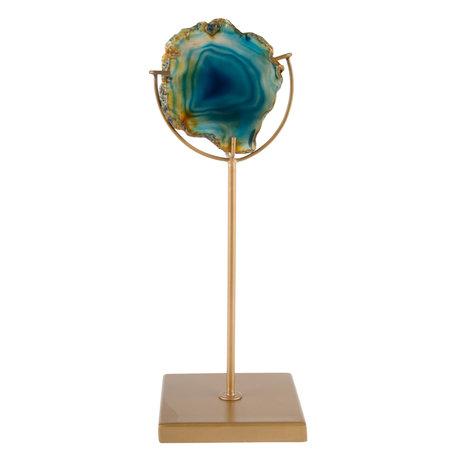 DUTCHBONE Waxinelichthouder Gem blauw brass goud metaal 10x10x30cm