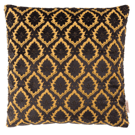 Dutchbone Cushion Glory black yellow textile 45x45cm