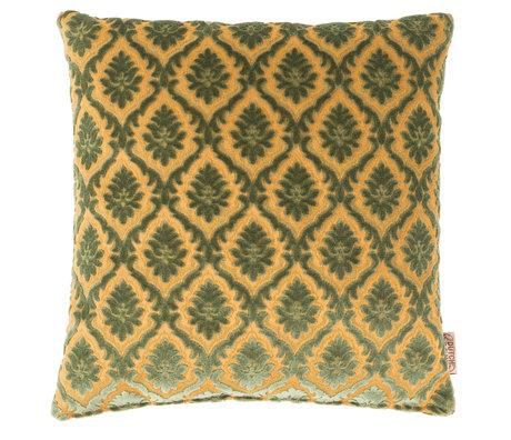 Dutchbone Coussin Glory vieux textile jaune vert 45x45cm