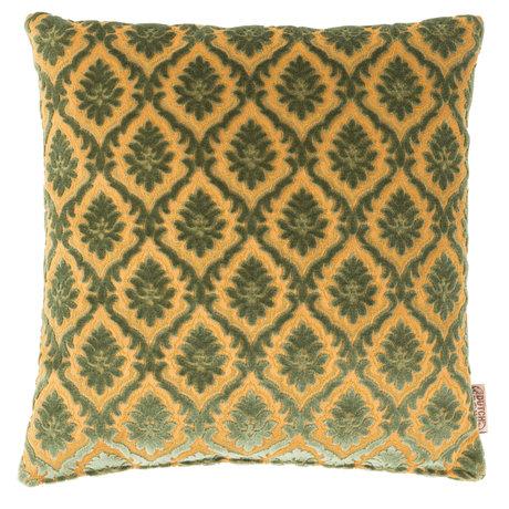 Dutchbone Sierkussen Glory oud groen geel textiel 45x45cm
