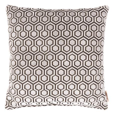 Dutchbone Coussin Dean textile gris clair 45x45cm