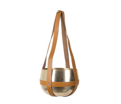 Dutchbone Pot de plante en pot Oasis en laiton doré alluminium avec lanières de cuir ø21x47cm