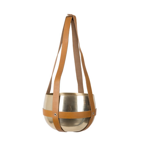 Dutchbone Pot plant hanger Oasis brass goud alluminium met leren straps ø21x47cm