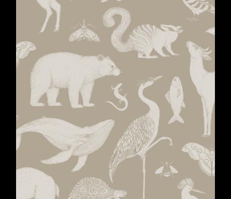 Ferm Living Papier peint Katie Scott Animals papier peint non tissé non tissé brun sable 53x1000cm