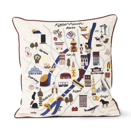 Ferm Living Cushion Copenhagen Cushion multicolour cotton canvas 50x50xcm