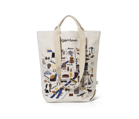 Ferm Living Shopper Copenhagen mehrfarbiger Baumwollstoff 44x0,5x45cm