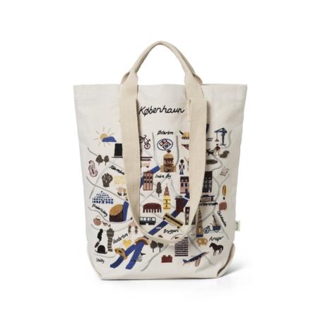 Ferm Living Shopper Copenhagen toile de coton multicolore 44x0.5x45cm