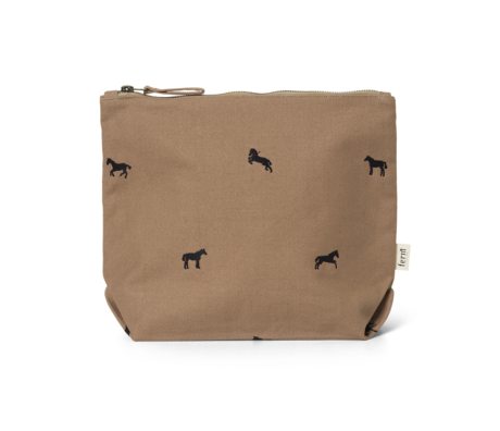 Ferm Living Clutch Horse embroidered Large Tan brown cotton 32x9x24cm
