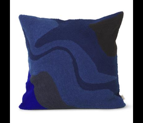 Ferm Living Coussin Vista coton bleu foncé 50x50cm